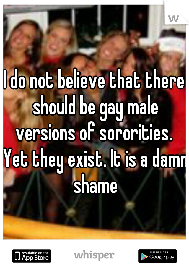 I do not believe that there should be gay male versions of sororities.  Yet they exist. It is a damn shame