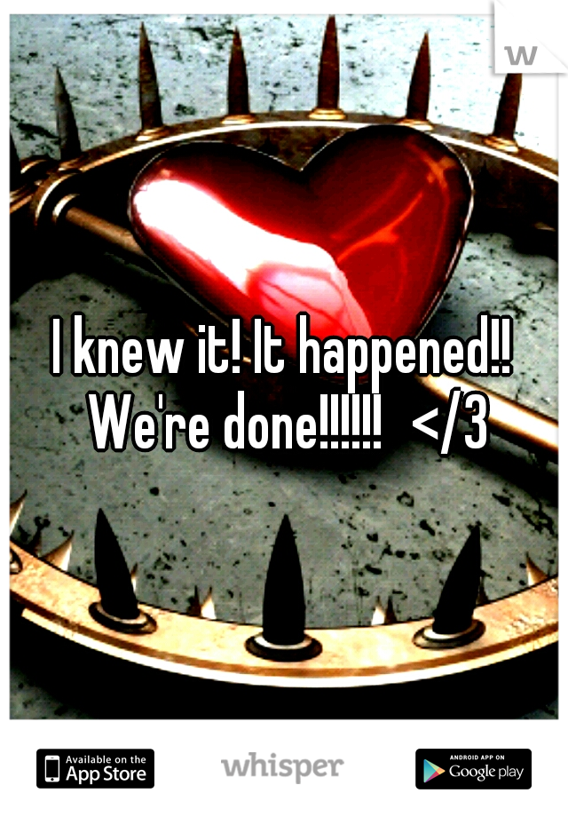 I knew it! It happened!! We're done!!!!!! </3