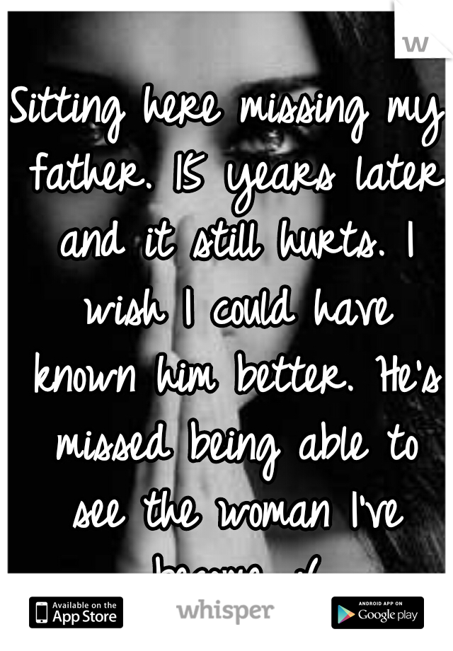 Sitting here missing my father. 15 years later and it still hurts. I wish I could have known him better. He's missed being able to see the woman I've become. :(