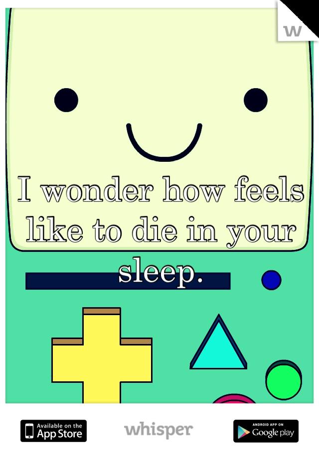 I wonder how feels like to die in your sleep.