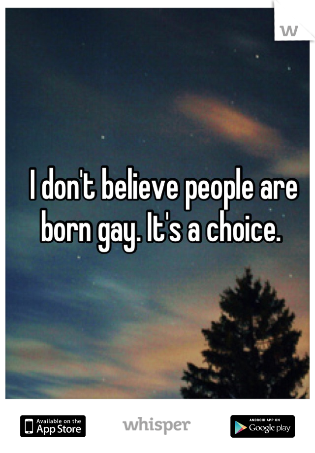 I don't believe people are born gay. It's a choice.