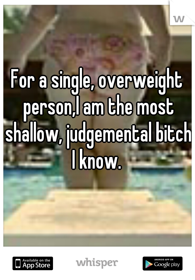 For a single, overweight person,I am the most shallow, judgemental bitch I know.