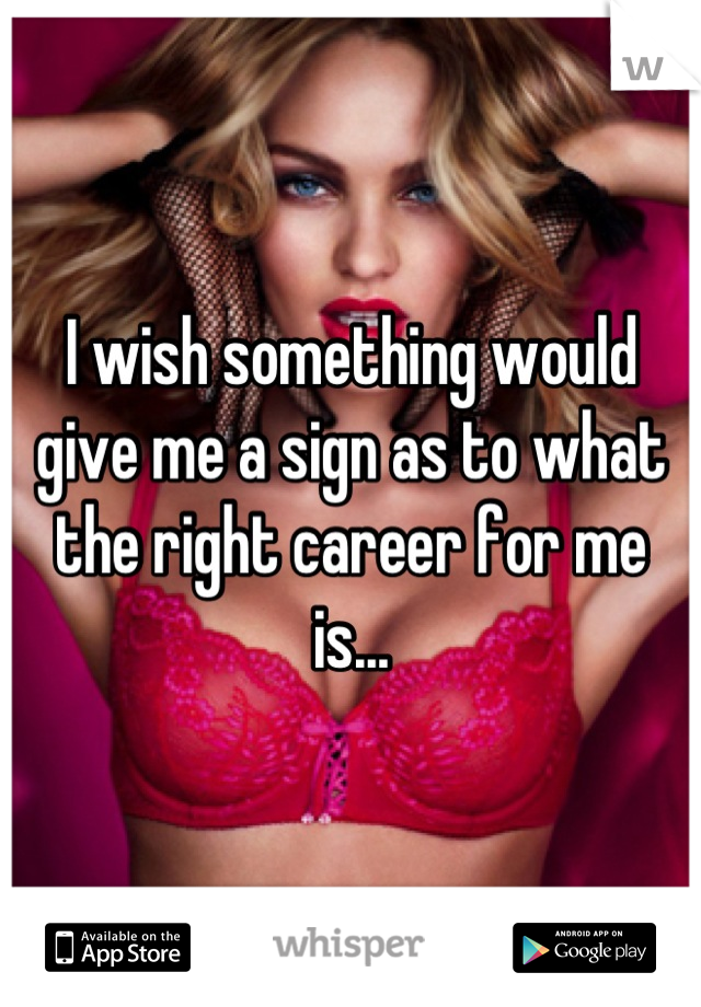 I wish something would give me a sign as to what the right career for me is...