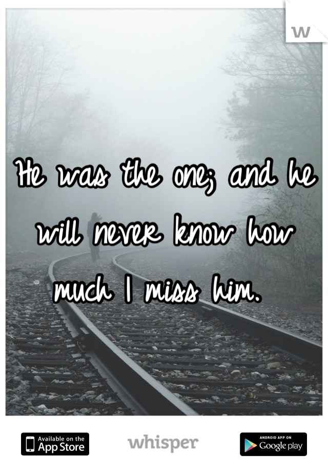 He was the one; and he will never know how much I miss him.