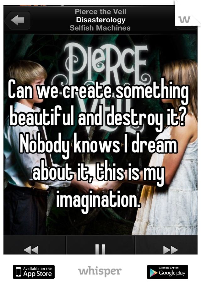 Can we create something beautiful and destroy it? Nobody knows I dream about it, this is my imagination.