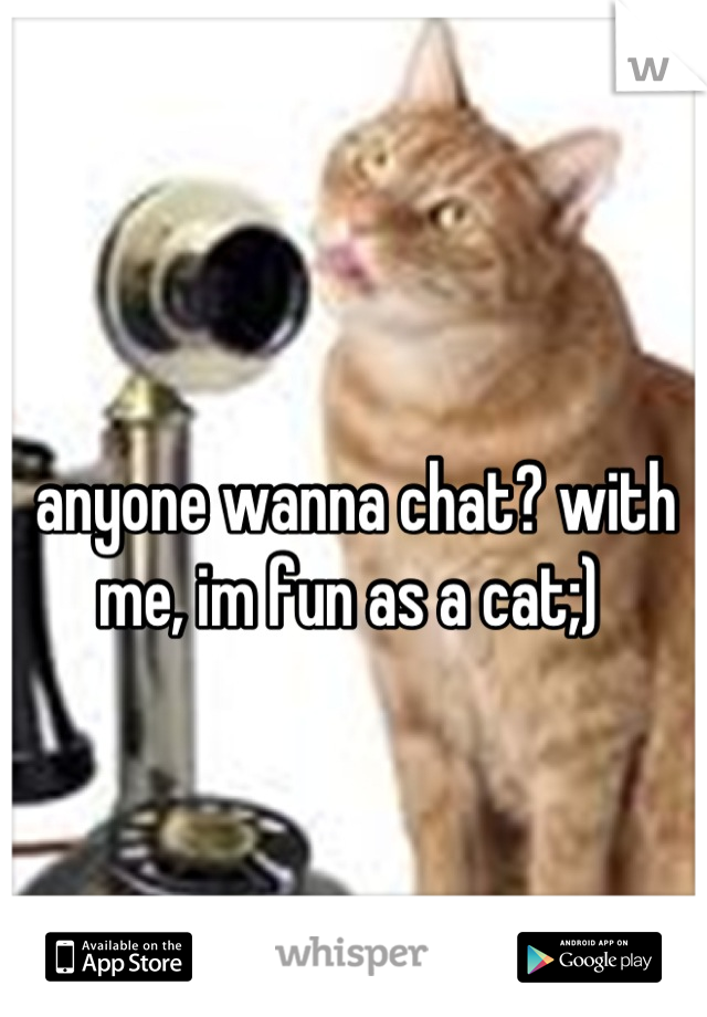 anyone wanna chat? with me, im fun as a cat;)