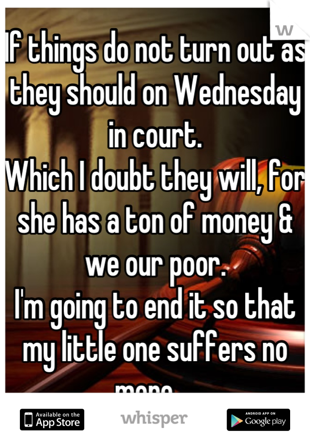 If things do not turn out as they should on Wednesday in court.  Which I doubt they will, for she has a ton of money & we our poor.  I'm going to end it so that my little one suffers no more ...