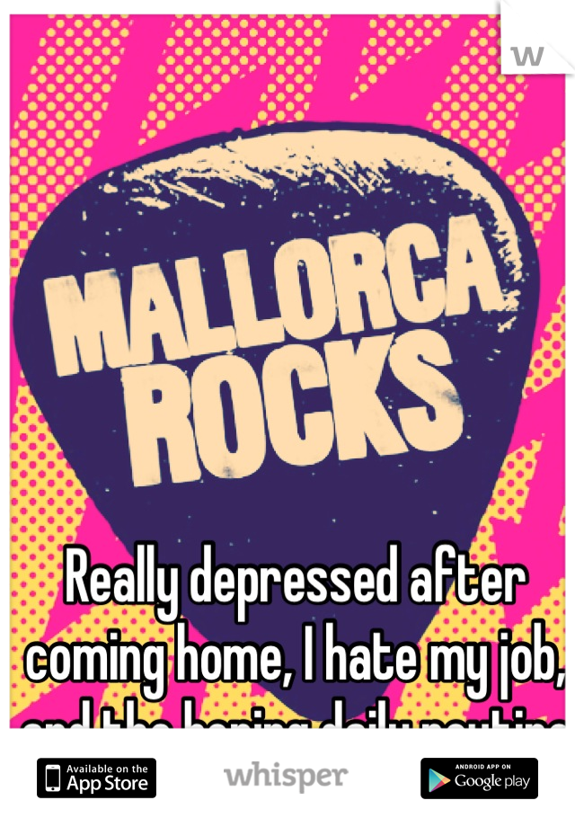 Really depressed after coming home, I hate my job, and the boring daily routine