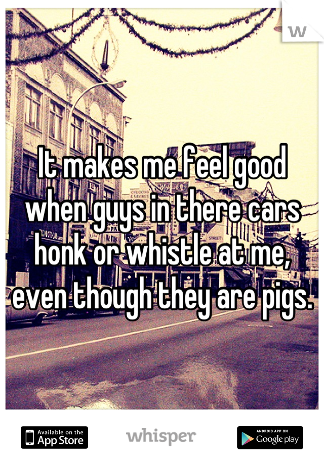 It makes me feel good when guys in there cars honk or whistle at me, even though they are pigs.