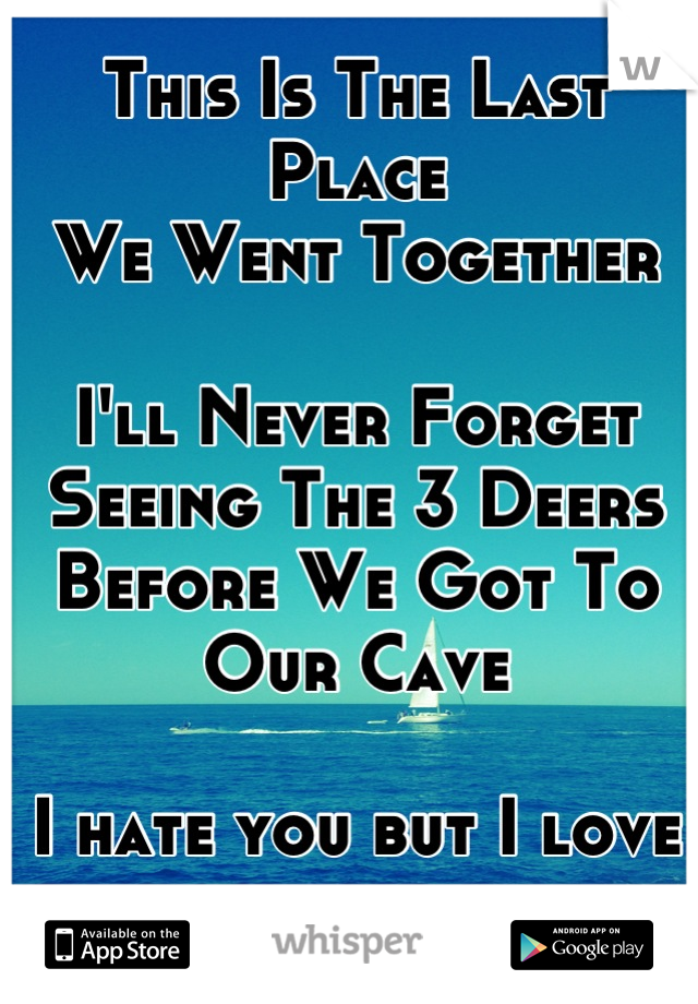 This Is The Last Place We Went Together  I'll Never Forget Seeing The 3 Deers Before We Got To Our Cave   I hate you but I love you