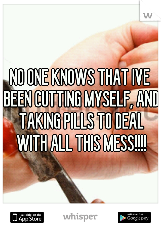 NO ONE KNOWS THAT IVE BEEN CUTTING MYSELF, AND TAKING PILLS TO DEAL WITH ALL THIS MESS!!!!