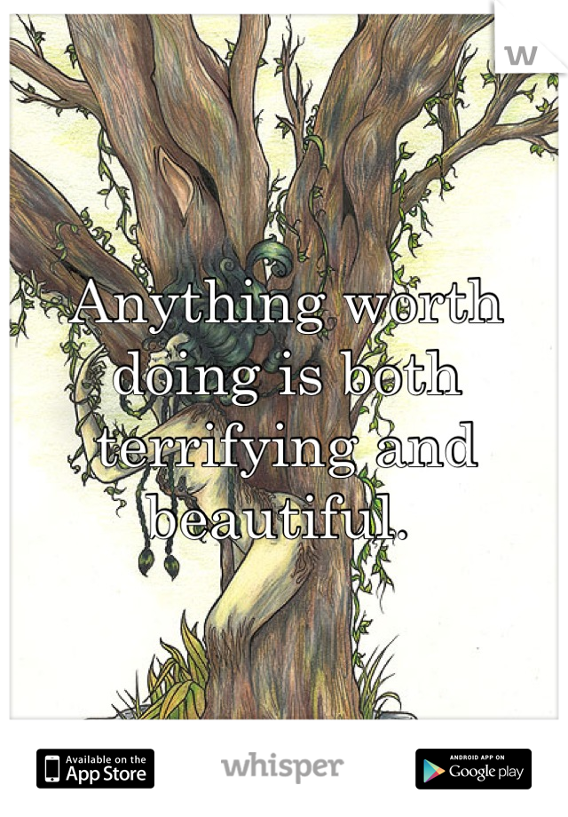 Anything worth doing is both terrifying and beautiful.