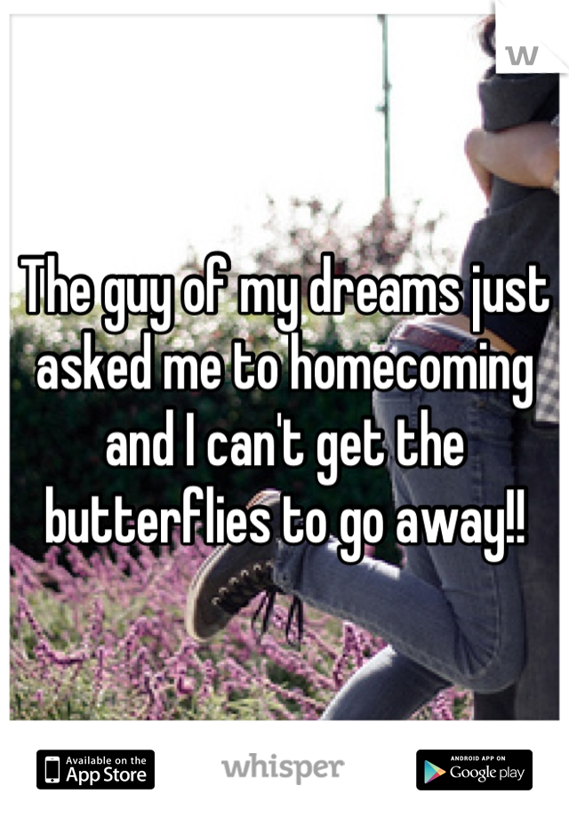 The guy of my dreams just asked me to homecoming and I can't get the butterflies to go away!!
