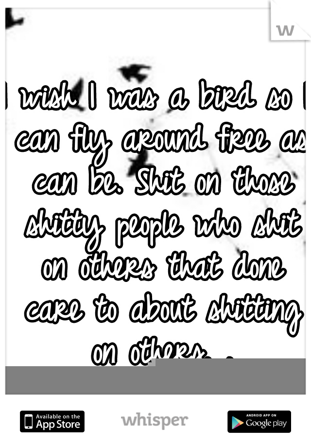 I wish I was a bird so I can fly around free as can be. Shit on those shitty people who shit on others that done care to about shitting on others. .