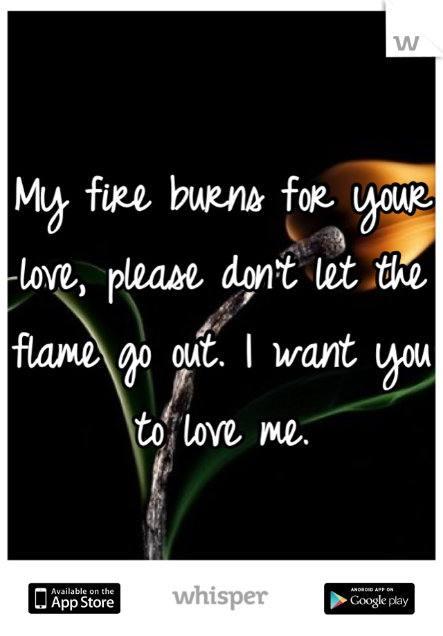 My fire burns for your love, please don't let the flame go out. I want you to love me.