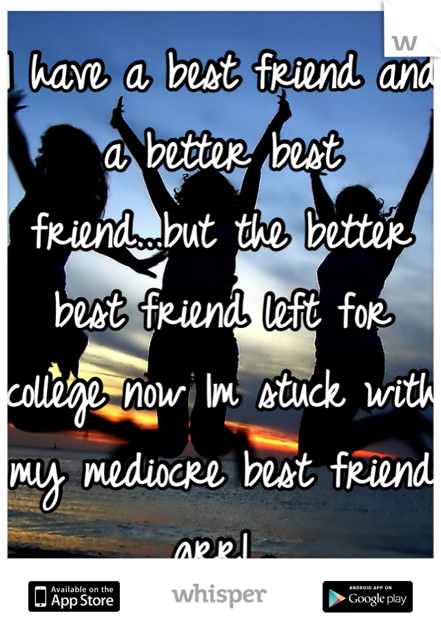 I have a best friend and a better best friend...but the better best friend left for college now Im stuck with my mediocre best friend grr!