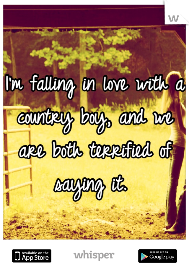 I'm falling in love with a country boy, and we are both terrified of saying it.