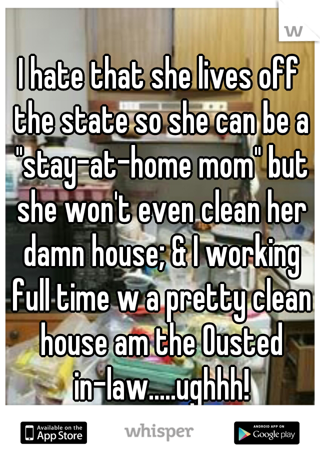 """I hate that she lives off the state so she can be a """"stay-at-home mom"""" but she won't even clean her damn house; & I working full time w a pretty clean house am the Ousted in-law.....ughhh!"""