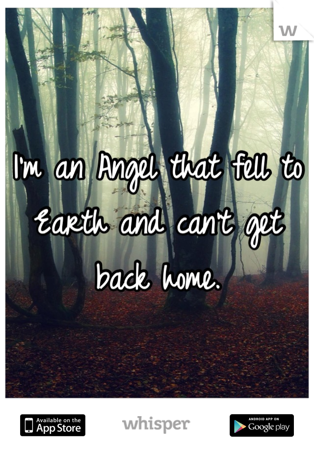 I'm an Angel that fell to Earth and can't get back home.