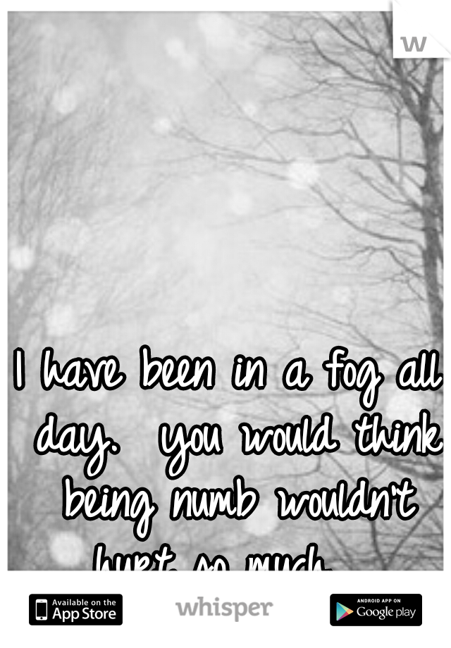 I have been in a fog all day.  you would think being numb wouldn't hurt so much.