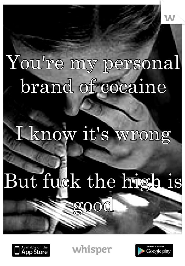 You're my personal brand of cocaine  I know it's wrong  But fuck the high is good