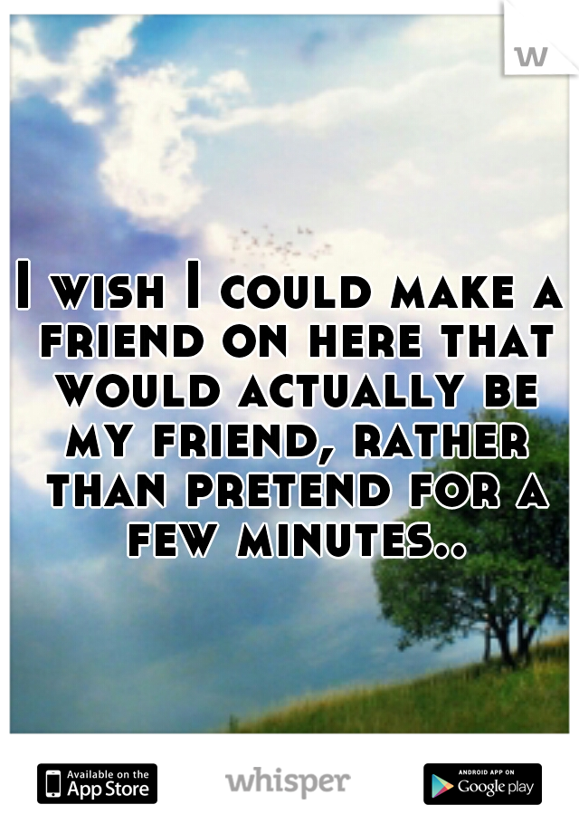 I wish I could make a friend on here that would actually be my friend, rather than pretend for a few minutes..