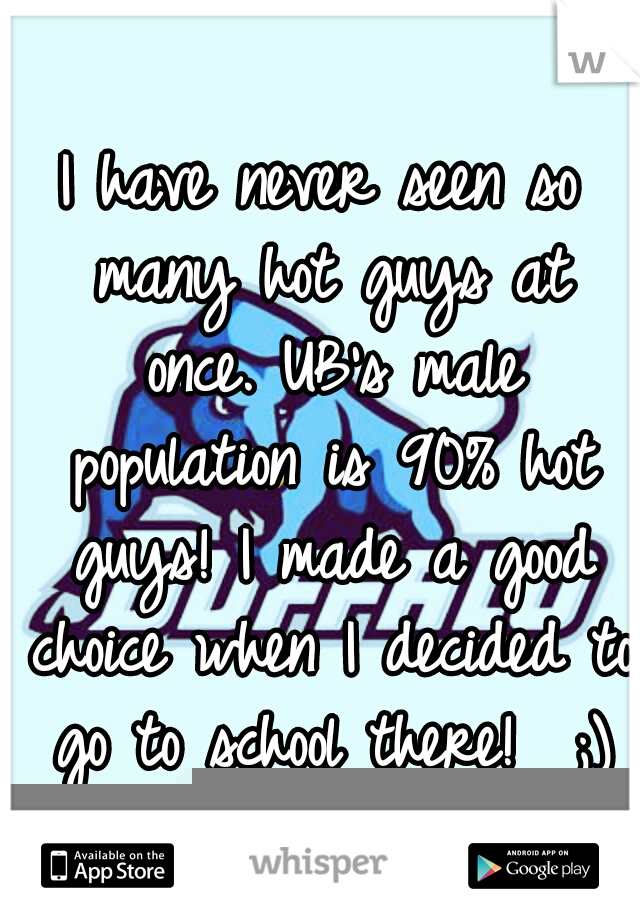 I have never seen so many hot guys at once. UB's male population is 90% hot guys! I made a good choice when I decided to go to school there!  ;)