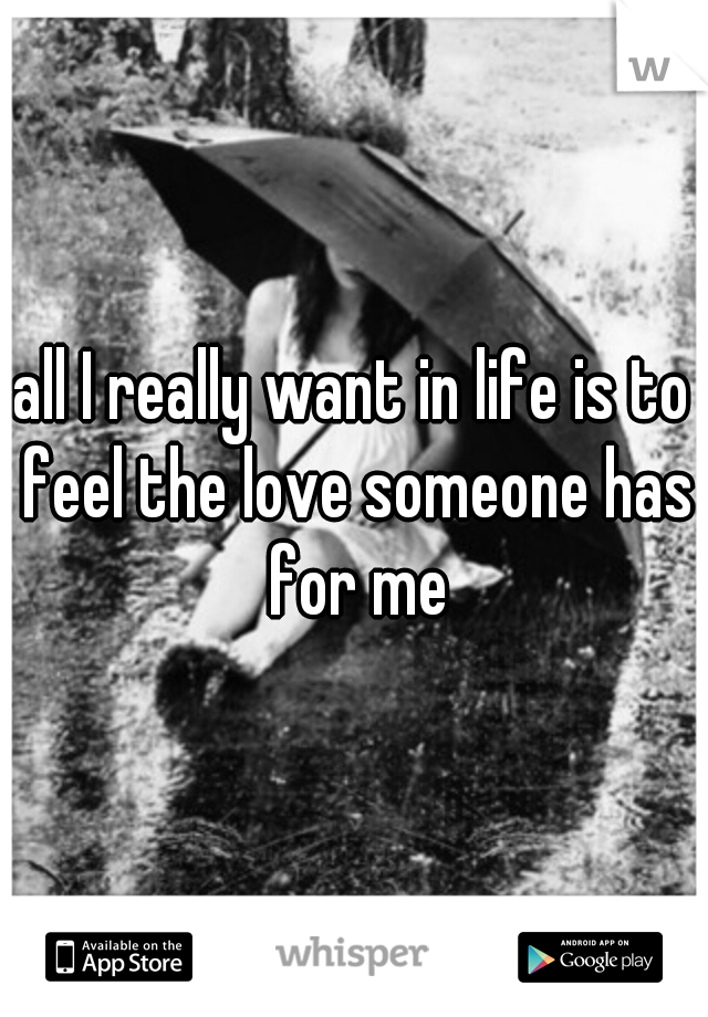all I really want in life is to feel the love someone has for me