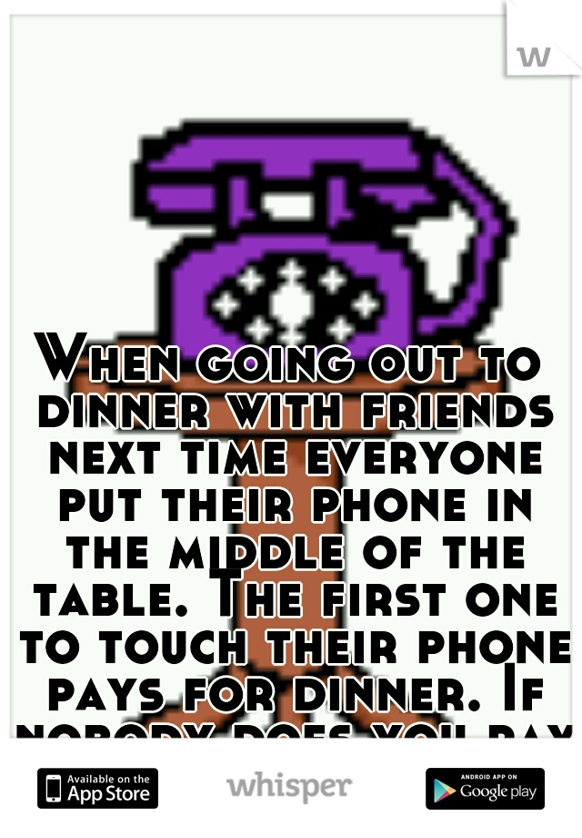 When going out to dinner with friends next time everyone put their phone in the middle of the table. The first one to touch their phone pays for dinner. If nobody does you pay for your own.