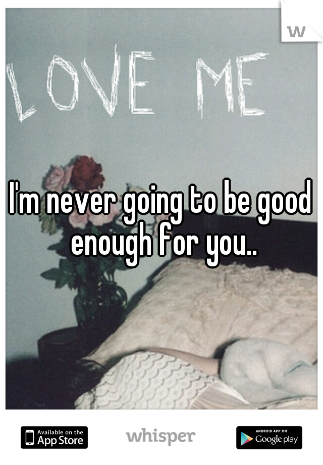 I'm never going to be good enough for you..