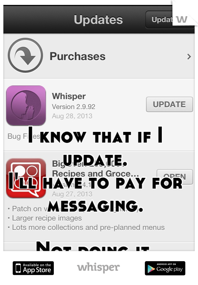 I know that if I update. I'll have to pay for messaging.  Not doing it.