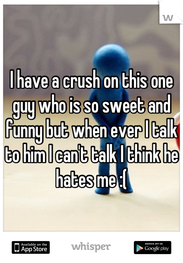 I have a crush on this one guy who is so sweet and funny but when ever I talk to him I can't talk I think he hates me :(