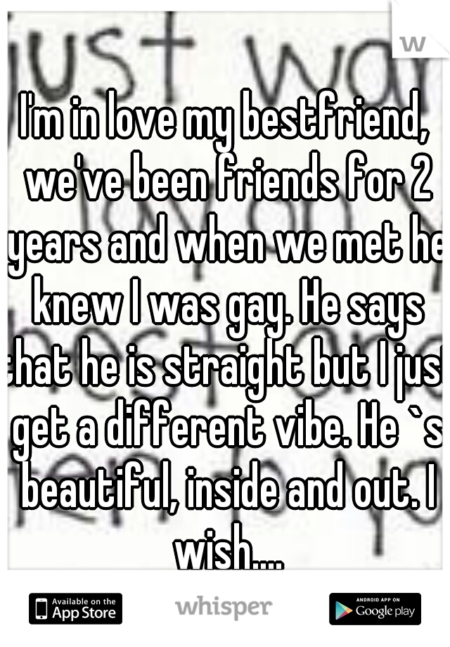 I'm in love my bestfriend, we've been friends for 2 years and when we met he knew I was gay. He says that he is straight but I just get a different vibe. He `s beautiful, inside and out. I wish....