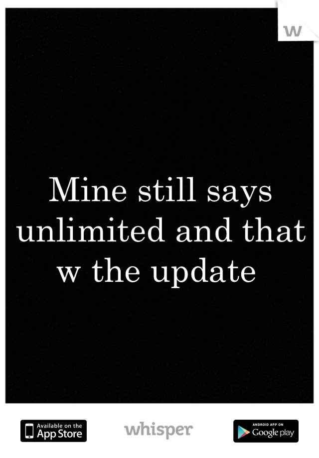 Mine still says unlimited and that w the update