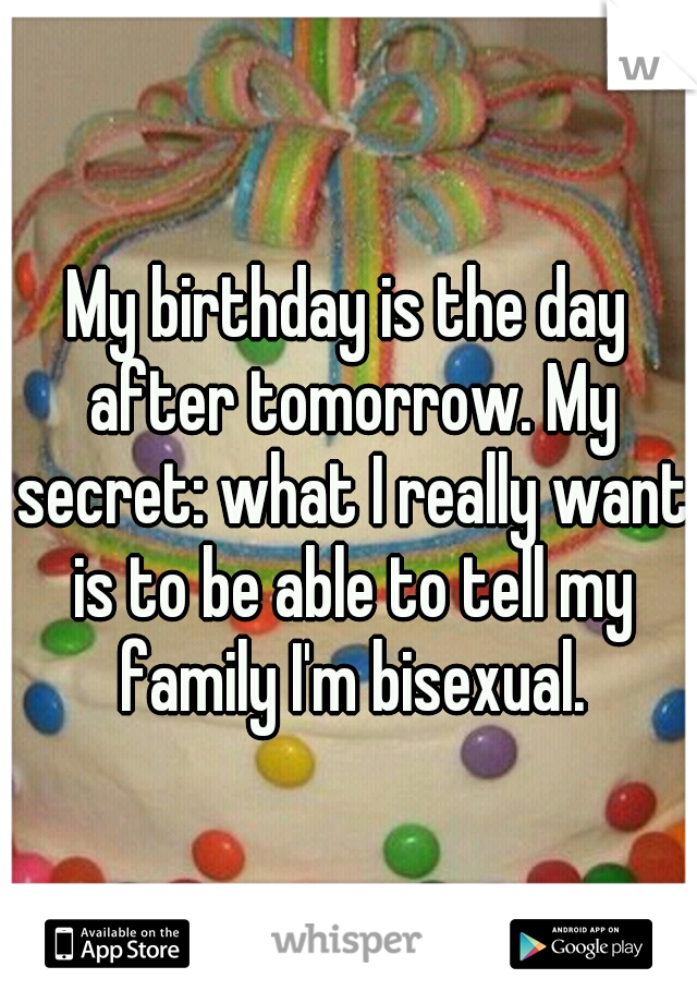 My birthday is the day after tomorrow. My secret: what I really want is to be able to tell my family I'm bisexual.