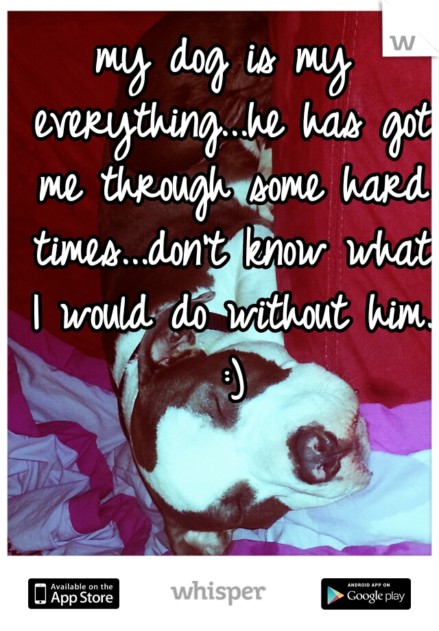 my dog is my everything...he has got me through some hard times...don't know what I would do without him. :)