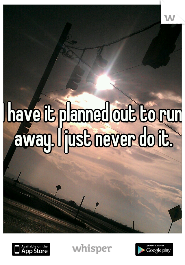 I have it planned out to run away. I just never do it.