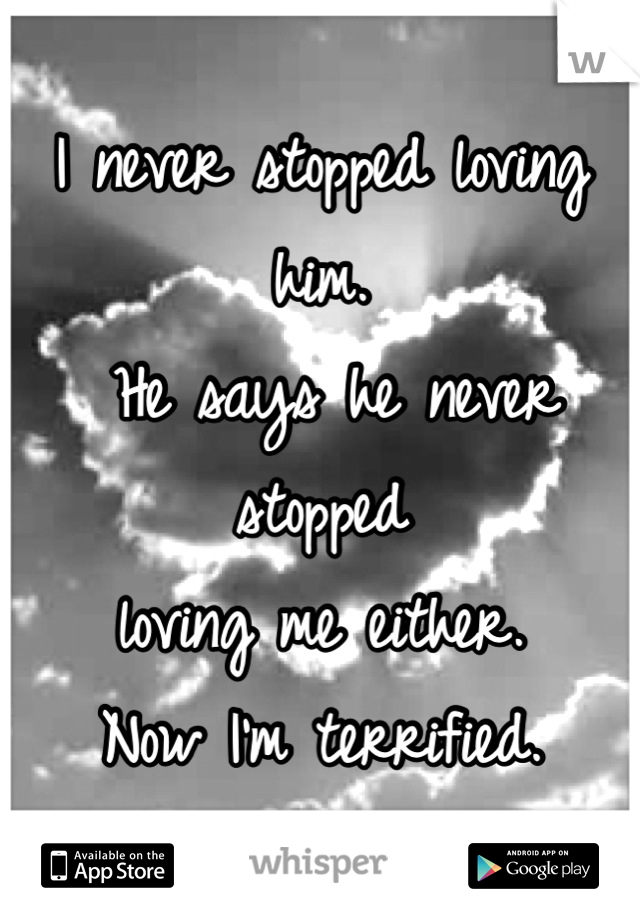 I never stopped loving him.  He says he never stopped  loving me either.  Now I'm terrified.