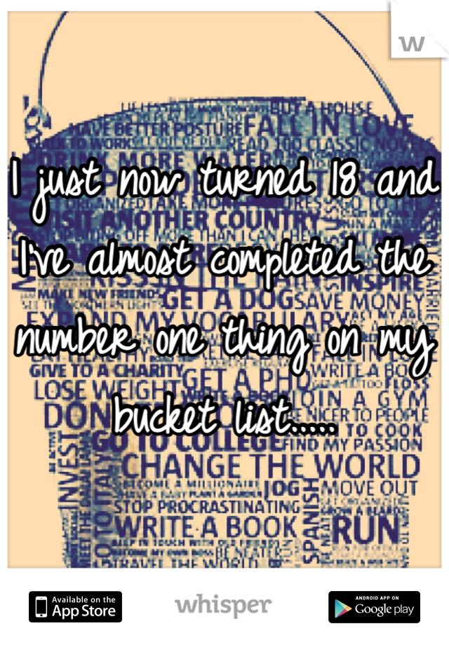 I just now turned 18 and I've almost completed the number one thing on my bucket list.....