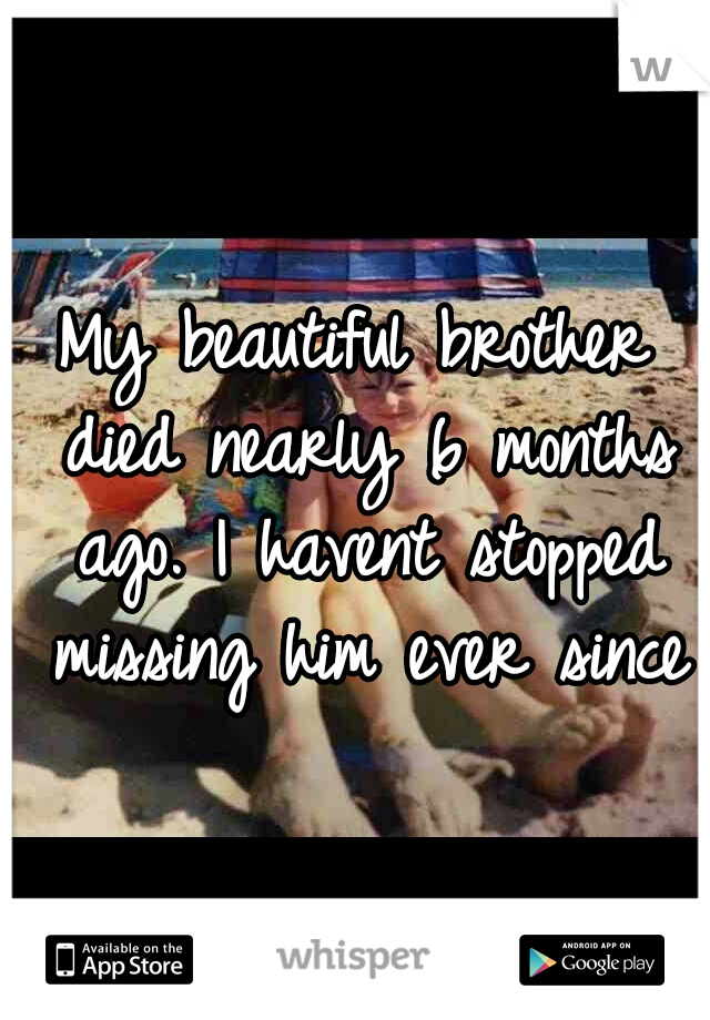 My beautiful brother died nearly 6 months ago. I havent stopped missing him ever since