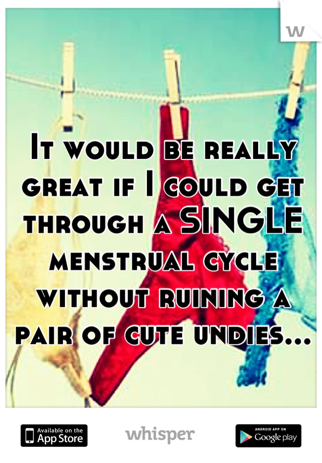 It would be really great if I could get through a SINGLE menstrual cycle without ruining a pair of cute undies...
