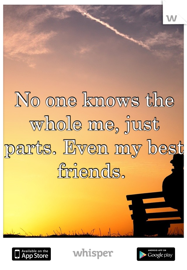 No one knows the whole me, just parts. Even my best friends.