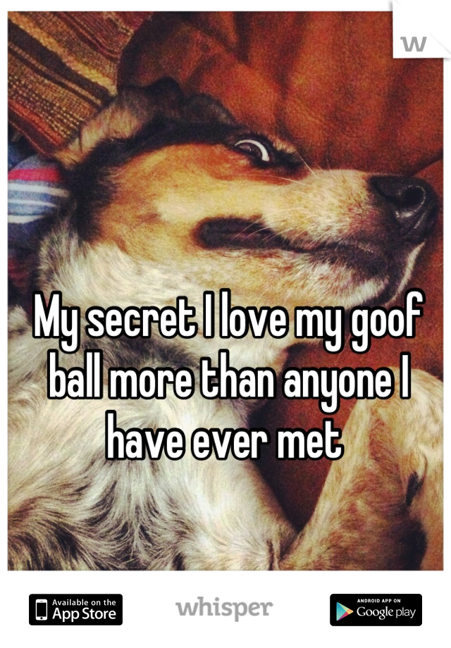 My secret I love my goof ball more than anyone I have ever met