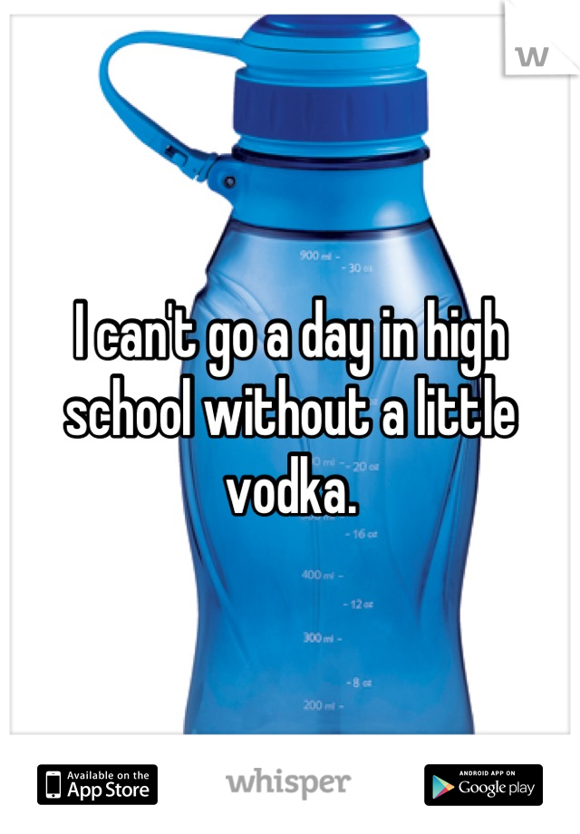 I can't go a day in high school without a little vodka.