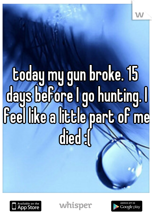 today my gun broke. 15 days before I go hunting. I feel like a little part of me died :(