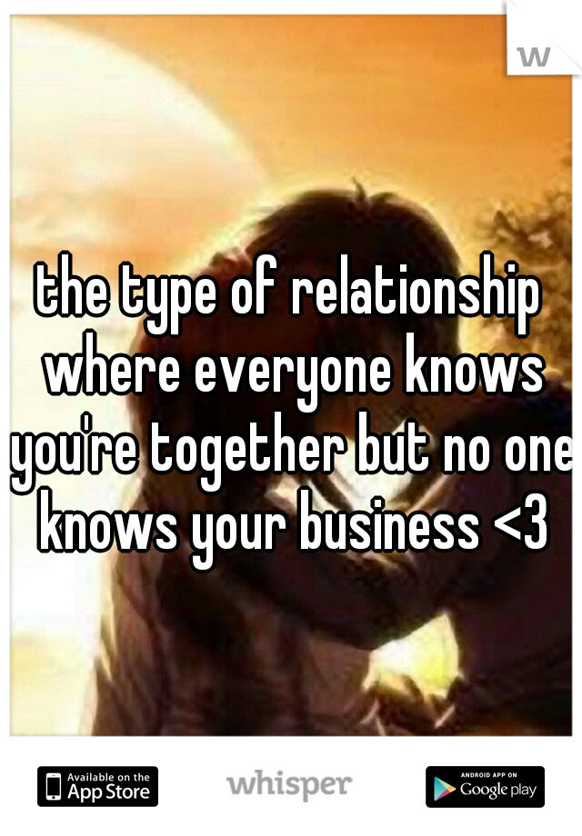 the type of relationship where everyone knows you're together but no one knows your business <3