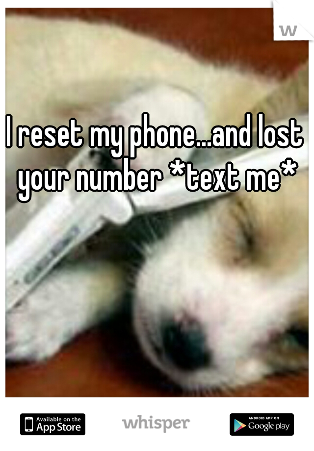 I reset my phone...and lost your number *text me*