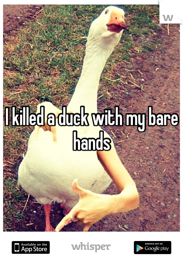 I killed a duck with my bare hands