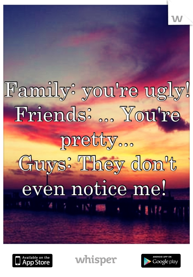 Family: you're ugly!  Friends: ... You're pretty...  Guys: They don't even notice me!