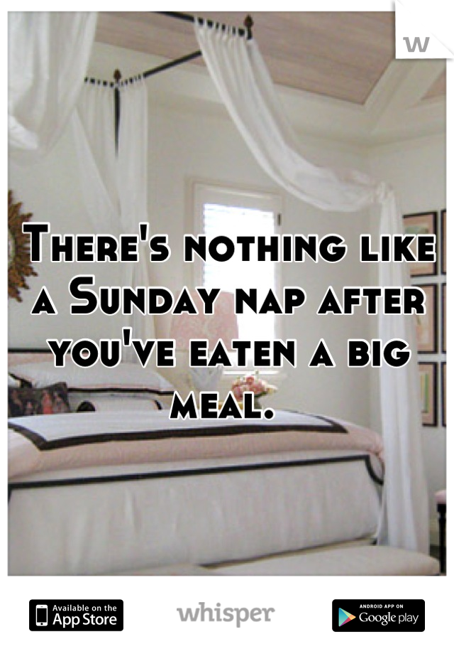 There's nothing like a Sunday nap after you've eaten a big meal.